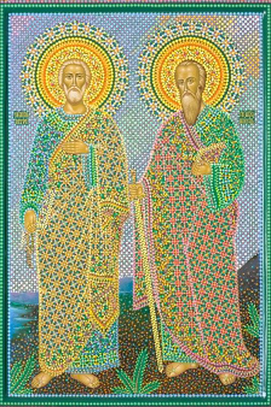 иконописец Юрий Кузнецов.  Икона Святых апостолов Петра и Павла.